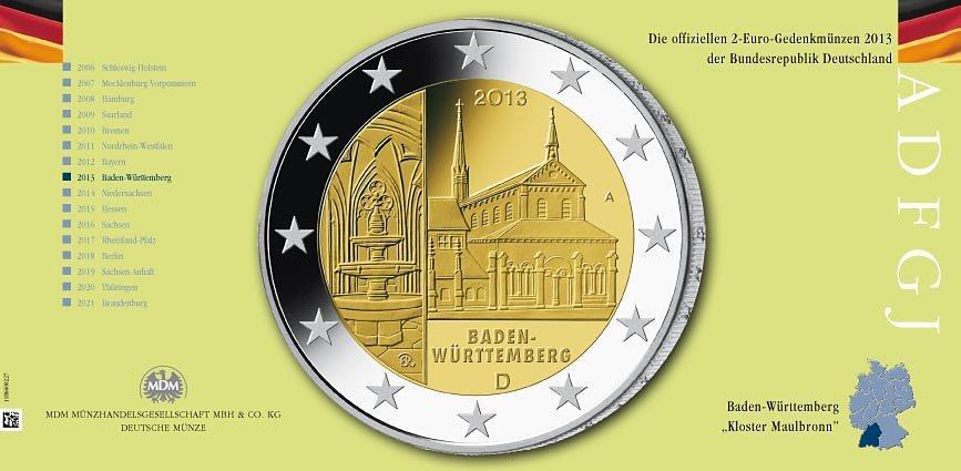 2 Euro Münze 2013 Baden Württemberg Mdm Deutsche Münze
