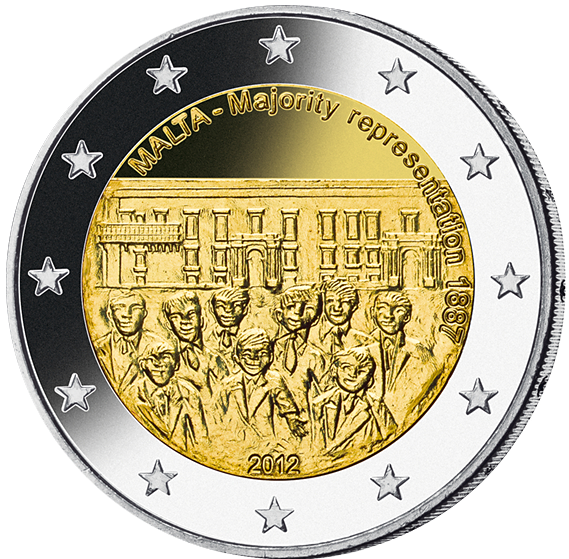 2 Euro Mehrheitswahlrecht Malta 2012 Münzen Günstigerde