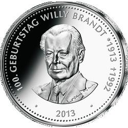 """Honoratioren-Prägung in Silber """"100. Geburtstag Willy Brandt"""""""