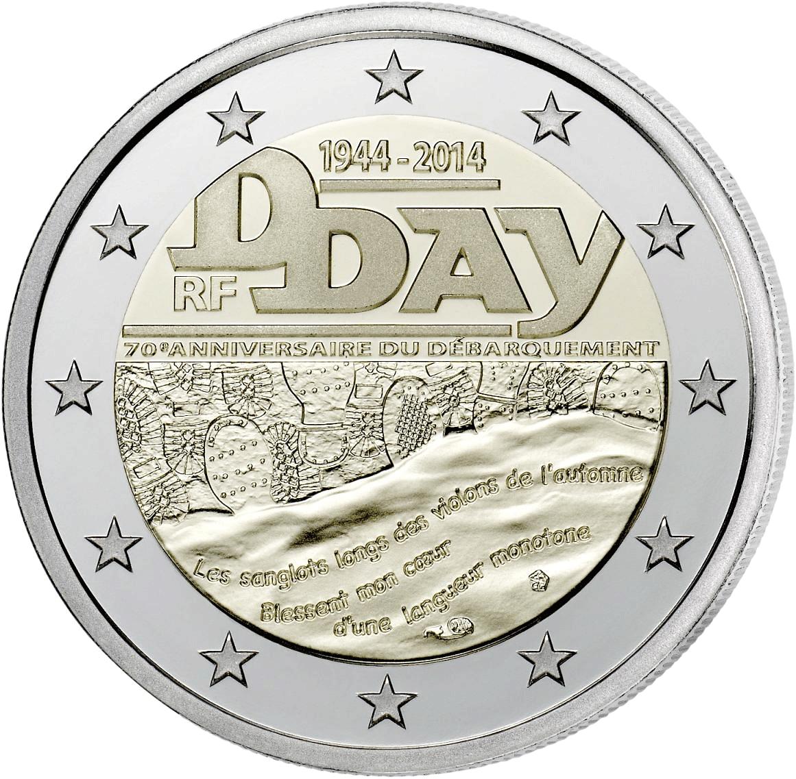 2 Euro Münze Frankreich 70 Jahre Dday 2014 Bfr Münzen Günstigerde