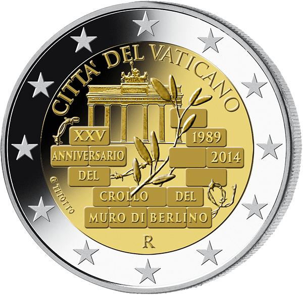 2 Vatikan 2014 25 Jahre Mauerfall Münzen Günstigerde