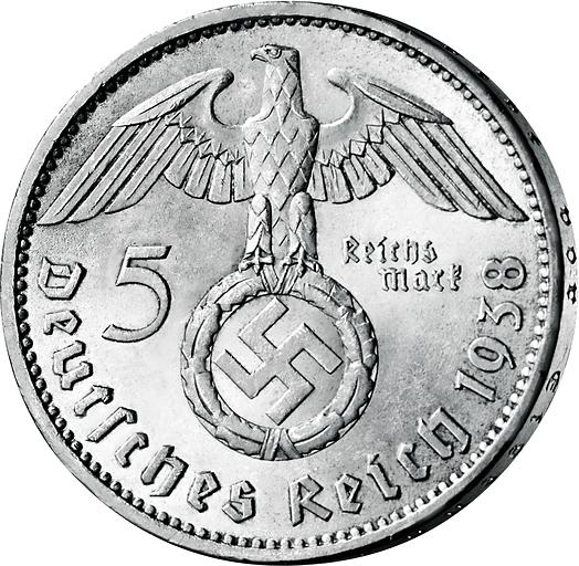 5 Reichsmark Silbermünze Drittes Reich Paul Von Hindenburg 1936 1939
