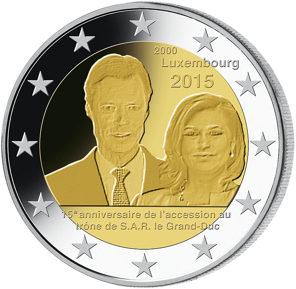 2 Luxemburg 2015 Thronbesteigung Großherzog Henri Münzen