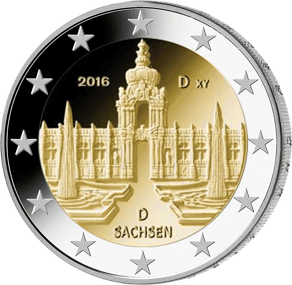 2 Euro Münze Sachsen 2016 Münzen Günstigerde