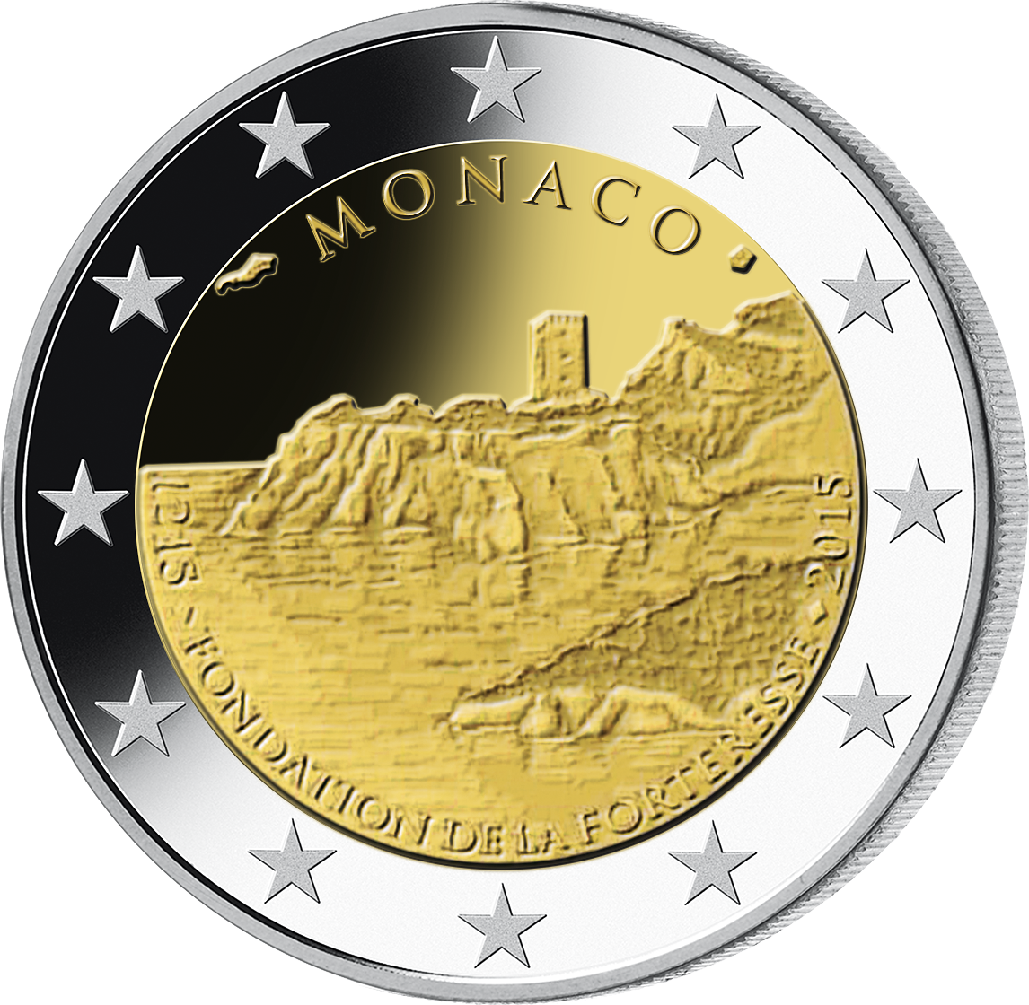 2 Euro Münze Monaco 800 Jahre Felsenschloss 2015 Pp Münzen