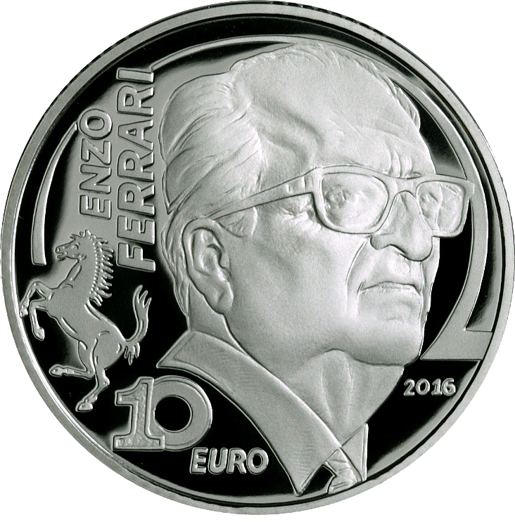 10 Euro Silbermünze Italien Enzo Ferrari 2016 Pp Münzen Günstigerde