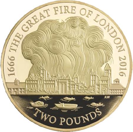 2 Pfund Goldmünze Großbritannien Großes Feuer Von London 2016 Pp