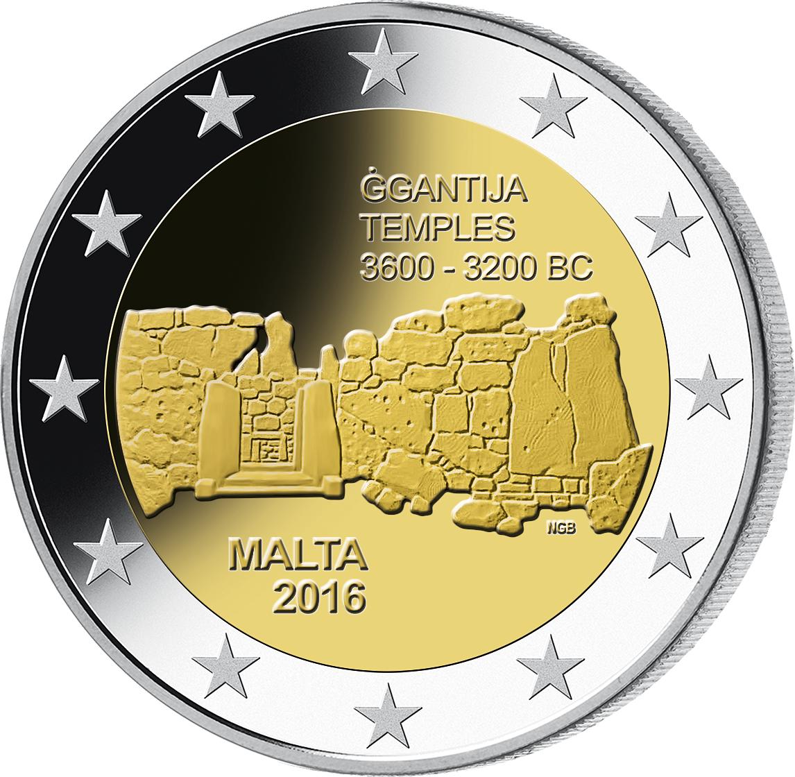 2 Euro Münze Malta Gantija 2016 Bfr Münzen Günstigerde