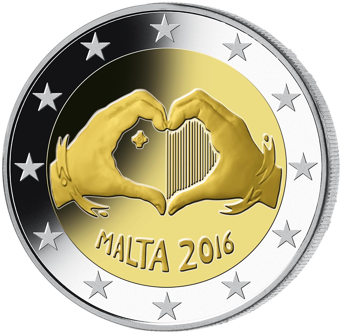 2 Euro Münze Malta Liebe 2016 Bfr Münzen Günstigerde