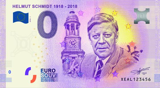0 Euro Banknote Helmut Schmidt 1918 2018 Kfr Münzen Günstigerde