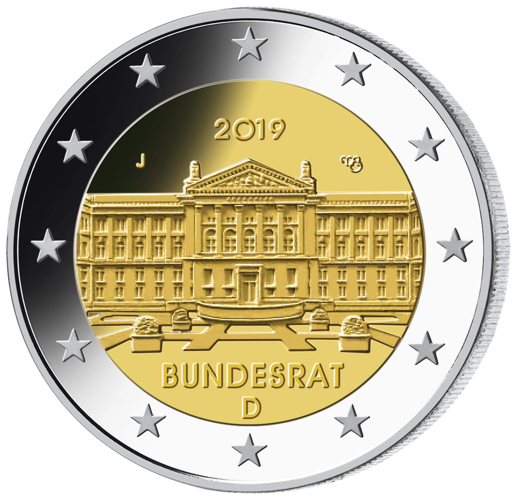 5 X 2 Euro Münzen Brd Bundesrat 2018 St Münzen Günstigerde