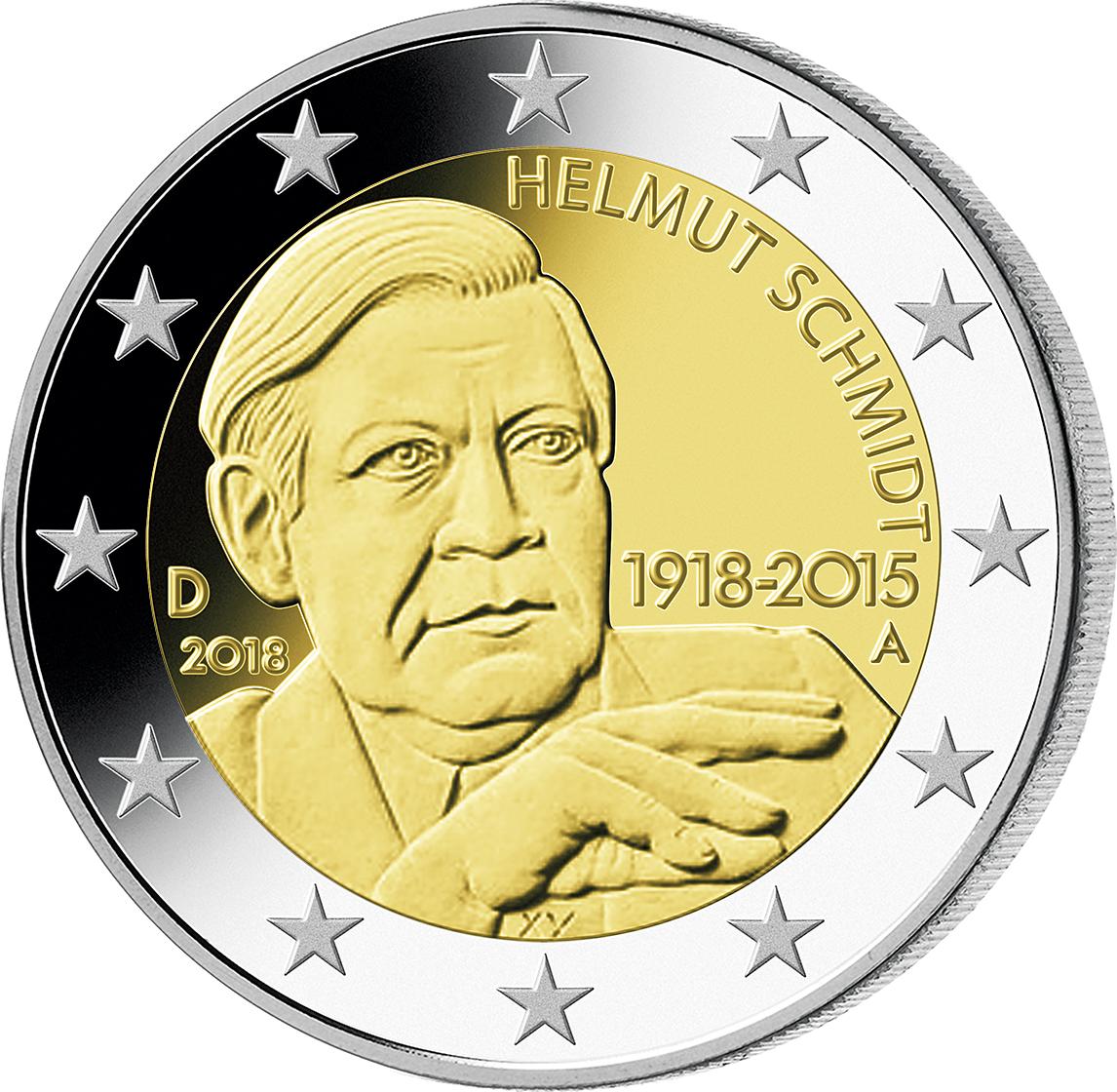 5 X 2 Euro Münzen Helmut Schmidt Komplettsatz 2018 Pp Münzen