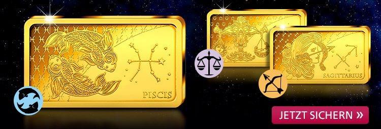 Die zwölf Sternzeichen in reinstem Gold!