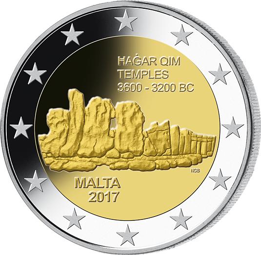 2 Euro Münze Malta Hagar Qim 2017 Bfr Münzen Günstigerde