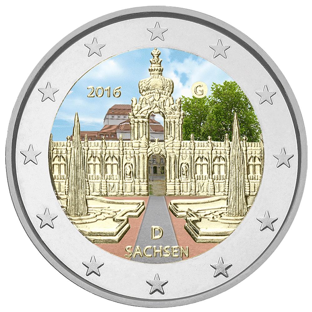 2 Euro Münze Sachsen 2016 Coloriert Münzen Günstigerde