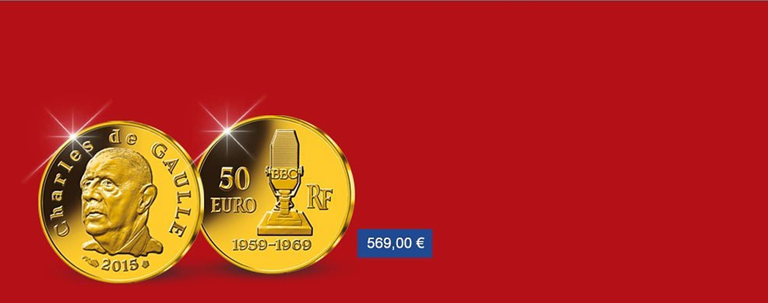 MDM - pièce de 50 Euros Or  Charles de Gaulle 2015
