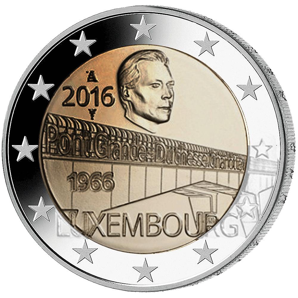 2 Euro Münze Luxemburg Brücke Großherzogin Charlotte 2016 Bfr