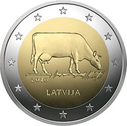 2 Euro Münze Lettland Milchwirtschaft 2016 Bfr Münzen Günstigerde