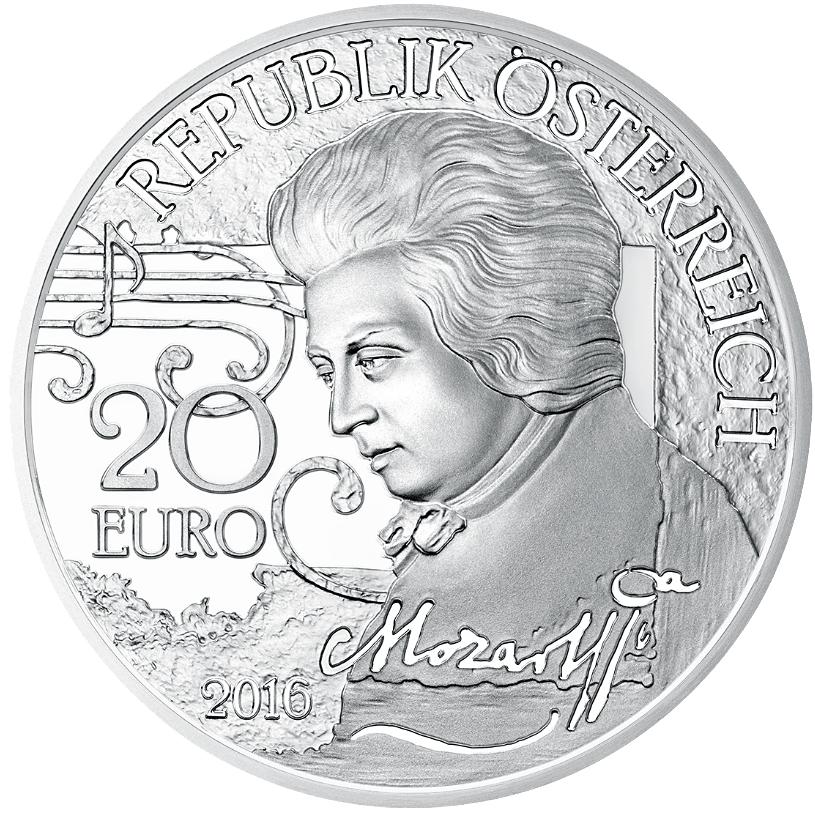 20 Euro Silbermünze österreich Mozart Der Mythos 2016 Pp Münzen