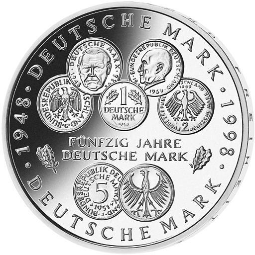 10 Dm Silber Münze 50 Jahre Dm 1998 10 Dm Münzen Dm Münzen