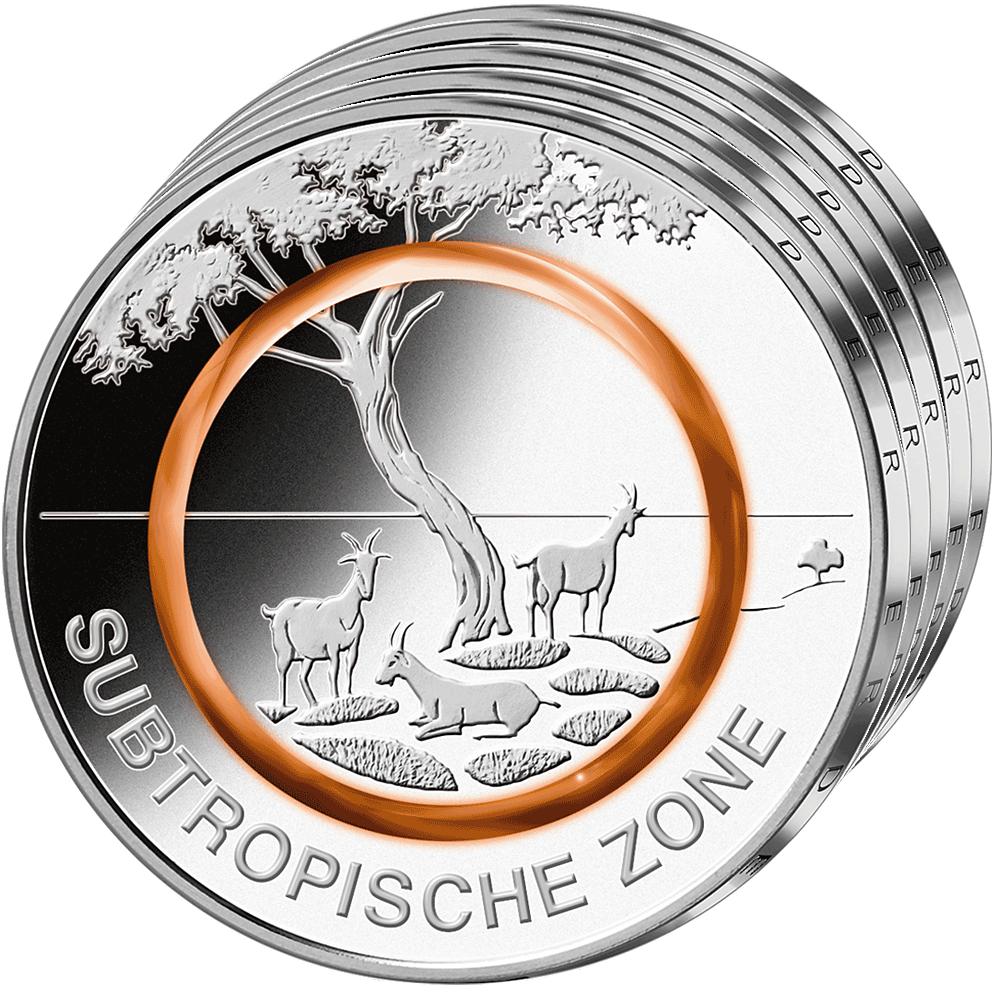 5 X 5 Euro Münze Brd 2018 Adfgj Subtropische Zone St Münzen