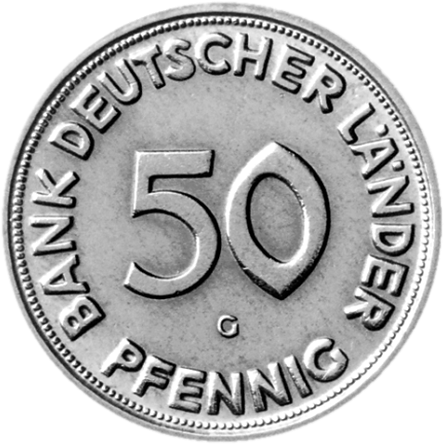 50 Pfennigmünze Bank Deutscher Länder