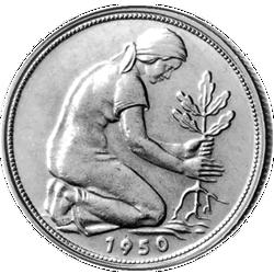50 Pfenningmünze 1950 Vorderseite