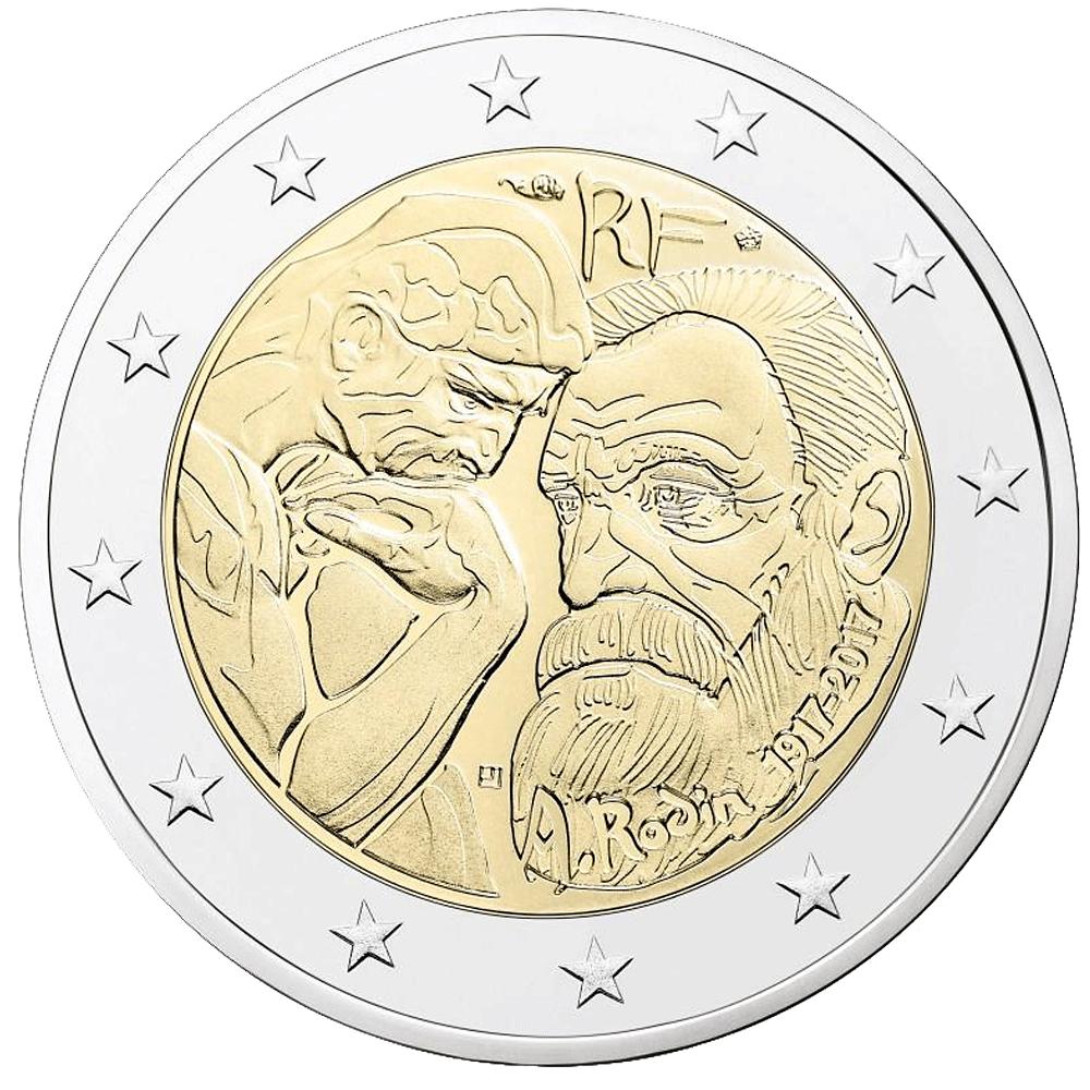 2 Euro Münze Frankreich Rodin 2017 Bfr Münzen Günstigerde