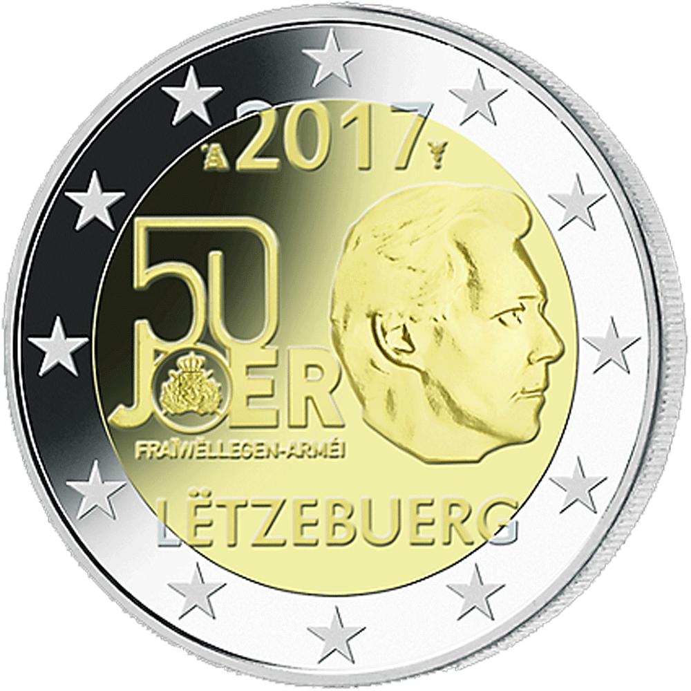 2 Euromünze Luxemburg 2017 50 Jahre Freiwilliger Wehrdienst 2017 Bfr