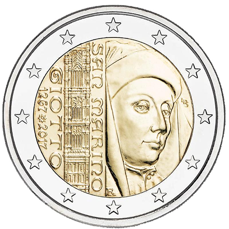 2 Euro Münze San Marino 750 Jahrestag Der Geburt Von Giotto 2017 St