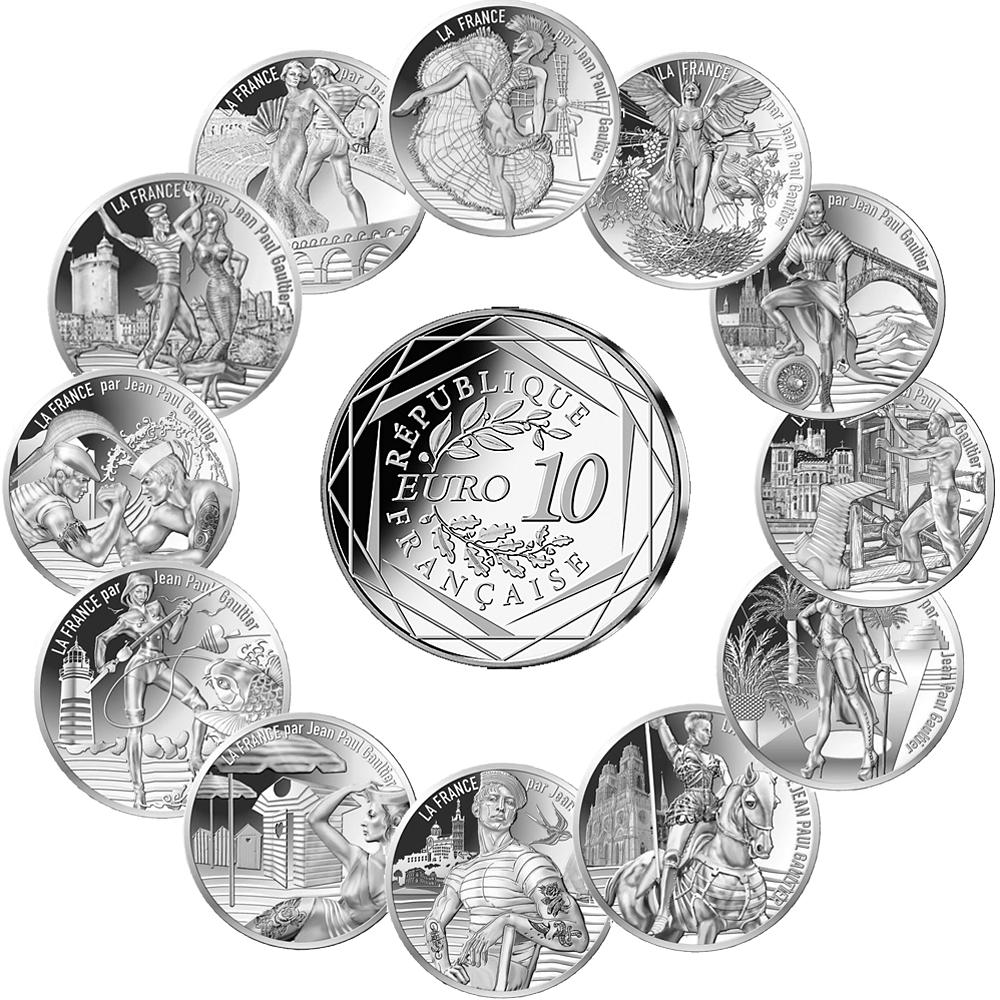 12 X 10 Euro Silbermünze Frankreich Jean Paul Gaultier Teil 1 2017