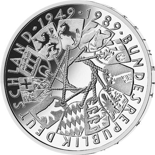 10 Dm Silber Münze 40 Jahre Brd 1989 10 Dm Münzen Dm Münzen