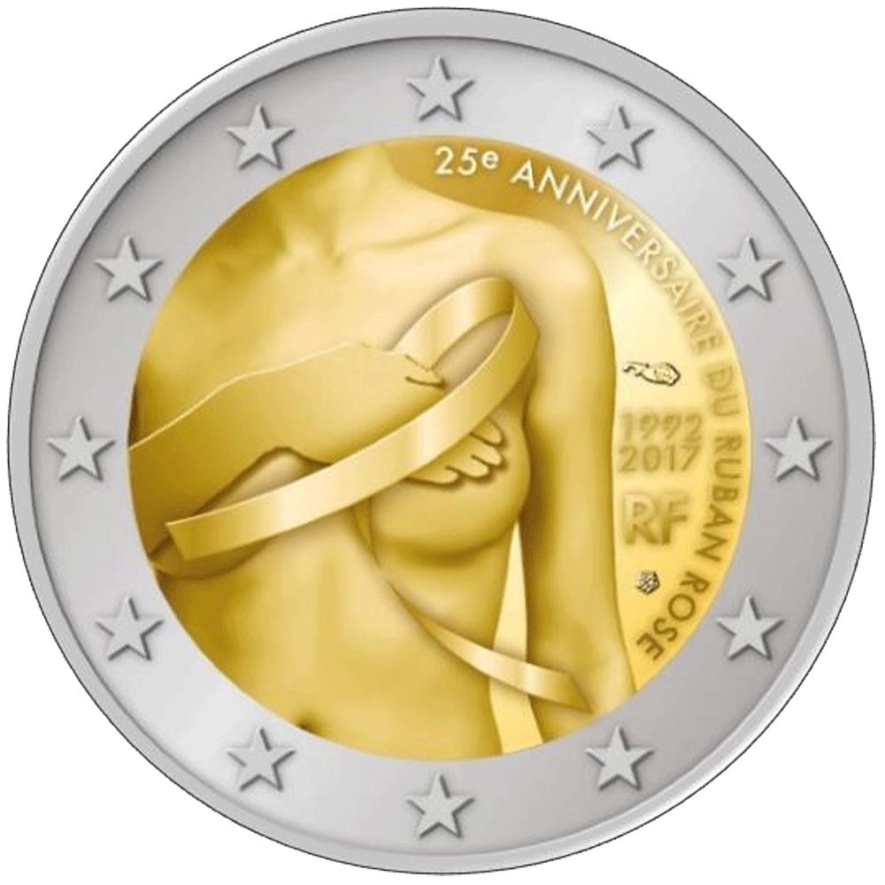 2 Euro Münze Frankreich Kampf Gegen Den Brustkrebs 2017 Münzen
