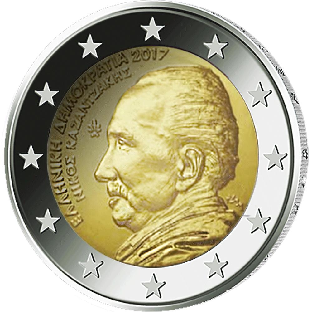 2 Euro Münze Griechenland 60 Todestag Von Nikos Kazantzakis 2017