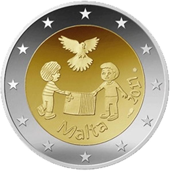 2 Euro Münze Malta Frieden 2017 Bfr Münzen Günstigerde