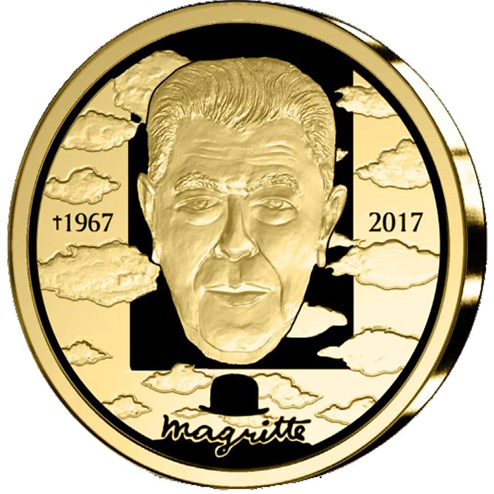100 Euro Goldmünze Belgien 200 Todestag René Magritte 2017 Pp
