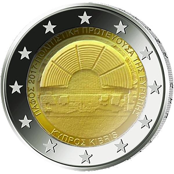 2 Euro Münze Zypern Paphos Kulturhauptstadt 2017 Bfr Münzen