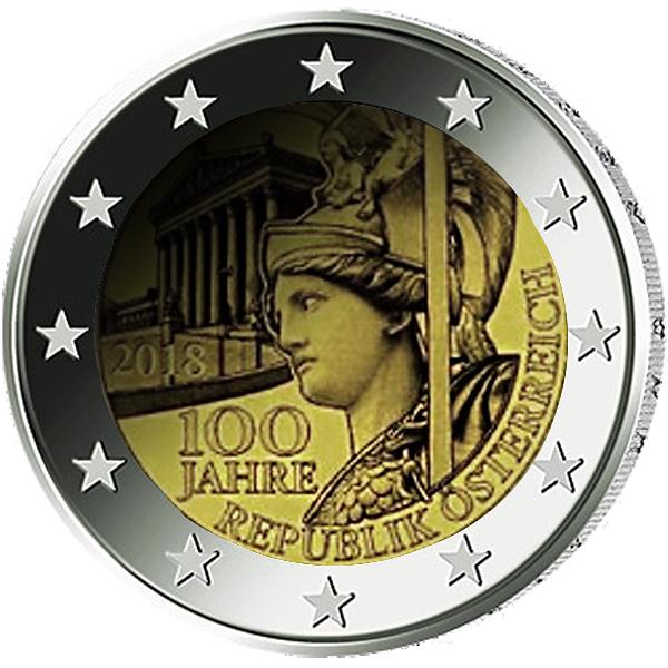 2 Euro Münze österreich 100 Jahre Republik österreich 2018 Bfr