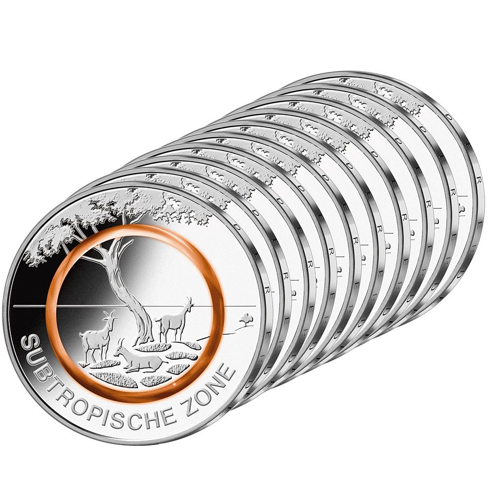 10 X 5 Euro Münze Brd 2018 Subtropische Zone St Münzen Günstigerde