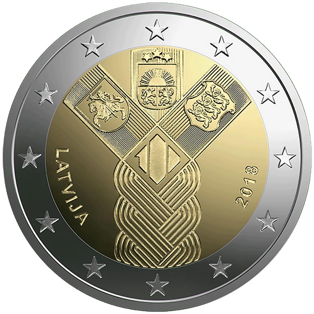2 Euro Münze Lettland Baltische Gemeinschaftsausgabe 100 Jahre