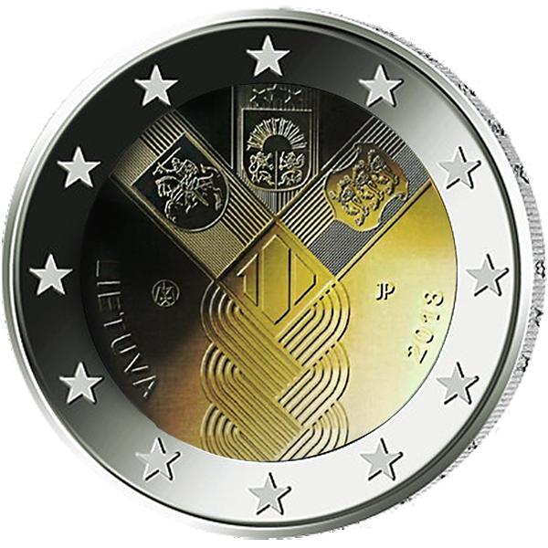 2 Euro Münze Litauen Baltische Gemeinschaftsausgabe 100 Jahre