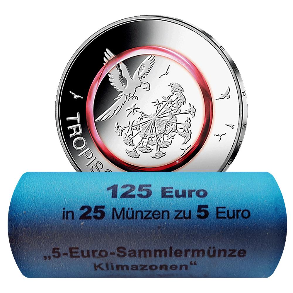 25 X 5 Euro Münzrolle Brd 2017 Tropische Zone St Prägezeichen D