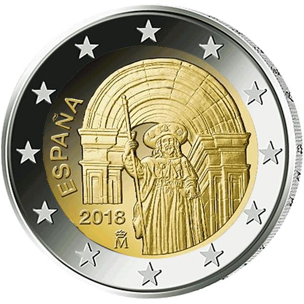 2 Euro Münze Spanien Altstadt Von Santiago De Compostela 2018 Bfr