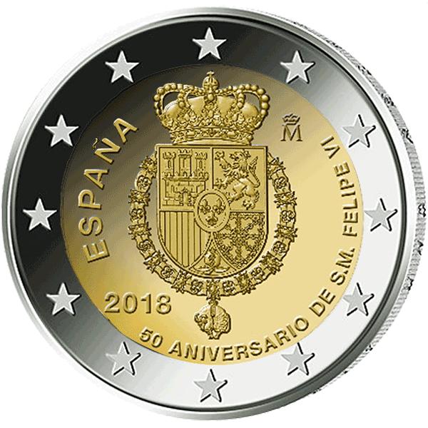 2 Euro Münze Spanien 50 Geburtstag Von König Felipe Vi 2018 Bfr