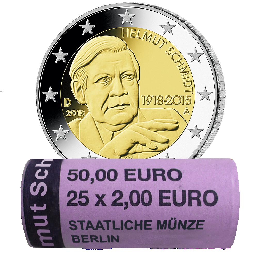 25 X 2 Euro Münzrolle Brd Helmut Schmidt 2018 A St Münzen Günstigerde
