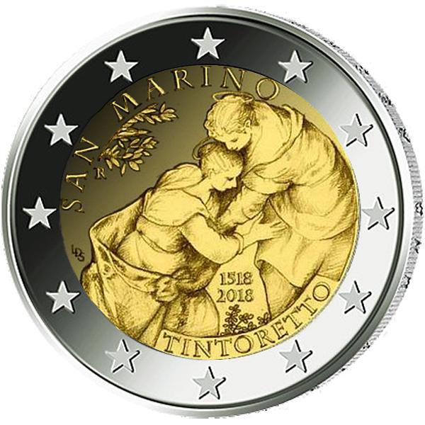 2 Euro Münze San Marino 500 Jahrestag Der Geburt Von Tintoretto