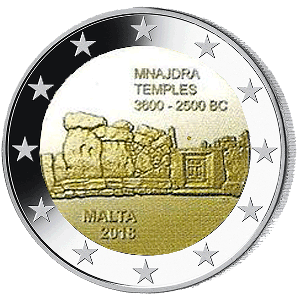 2 Euro Münze Malta Mnajdra 2018 Bfr Münzen Günstigerde