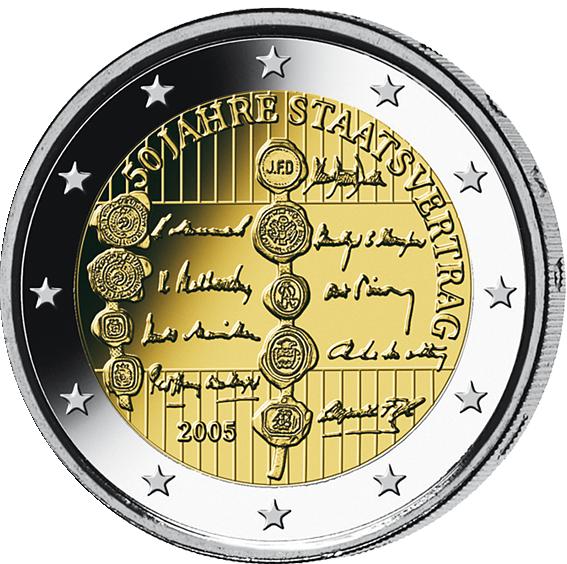 2 Euro 50 Jahre Staatsvertrag Münzen Günstigerde