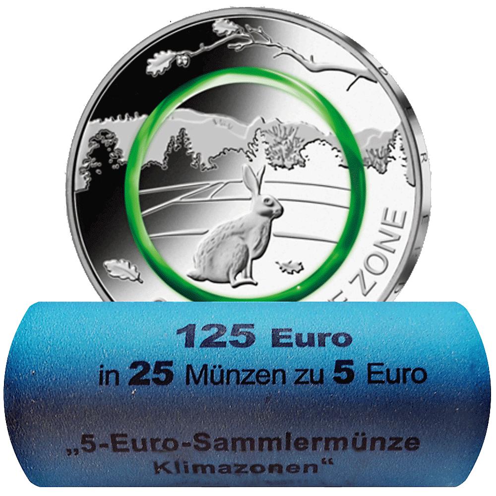 25 X 5 Euro Münzrolle Brd 2019 Gemäßigte Zone St Münzen Günstigerde