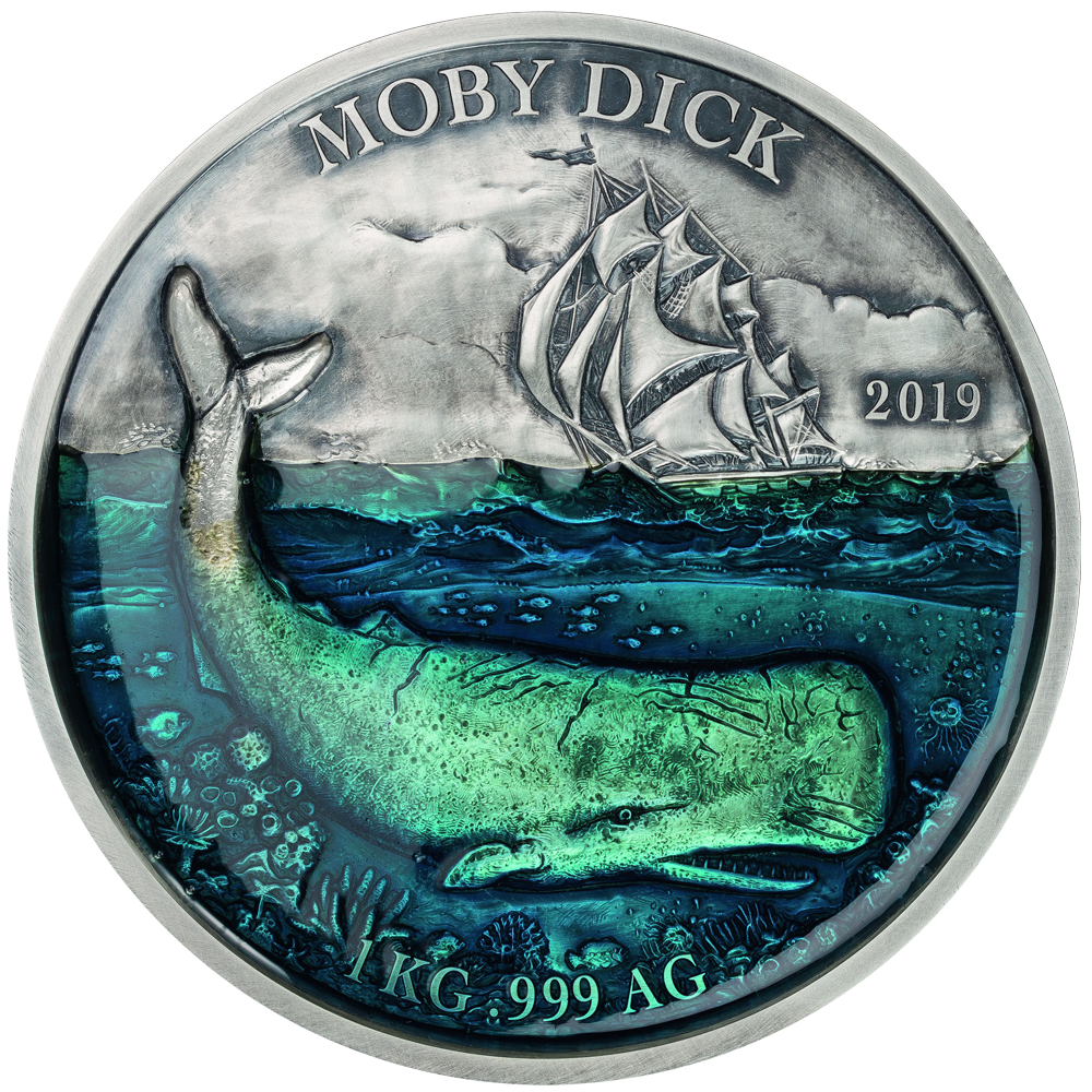 10000 CFA Francs Silbermünze Benin Deep Sea - Moby Dick 2019 Antique finish